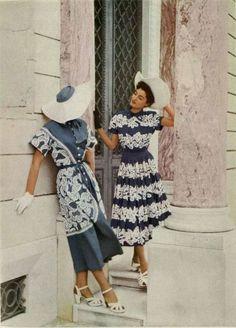 Vintage 1940s fashion | Jean Patou outfits, 1948.