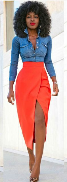 Denim chambray top with high waisted wrap skirt #streetstyle