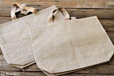 Use Blank Burlap or Jute Bags  --via Ashley Hackshaw / lilblueboo.com