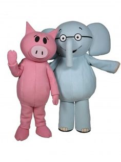 Elephant & Piggie Mascot Costume Character Mascot Rental  available for promotional use at schools, libraries, and bookstores.