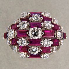 Designer Van Cleef Arpels 1964 Important 3 00ct Ruby 1 54ct Diamond Dome Ring