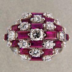 Designer Van Cleef Arpels 1964 Important 3 00ct Ruby 1 54ct Diamond Dome Ring