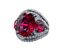 Robert Procop rubellite and diamond ring. Available at TIVOL. #2015coloroftheyear
