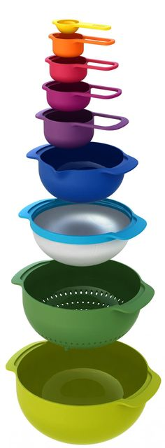 Joseph Joseph 40087 Nest 9 Nesting Bowls Set with Mixing Bowls Measuring Cups Sieve Colander, Multicolored Camper Life, Rv Campers, Rv Life, Truck Camper, Happy Campers, Tiny Camper, Motorhome, Materiel Camping, Vw Lt