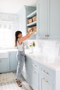 Boho Home Decor Jillian Harris Swiffer Tips to Cleaning a New Home.Boho Home Decor Jillian Harris Swiffer Tips to Cleaning a New Home Jillian Harris, Easy Home Decor, Cheap Home Decor, Laundry Room Inspiration, Blue Cabinets, Duck Egg Blue Kitchen Cabinets, Colored Cabinets, Duck Egg Kitchen, Kitchen Walls