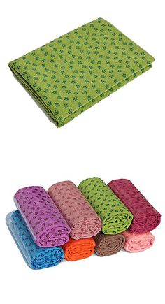 """Oxking Microfiber Non Skid Absorb Sweat Yoga Towel Yoga Mat Size 72.04""""x24.80"""" Lint-free, Non-snagging Plum Flower Shape Good Look and Durable with Protable Carry Bag Multi Colors (Green)"""