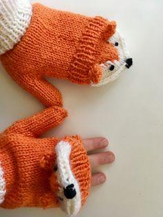 Fox mittens Crochet Fox Pattern Free, Cute Crochet, Baby Knitting Patterns, Crochet For Kids, Knit Crochet, Crochet Mittens, Mittens Pattern, Knitted Gloves, Crochet Hats