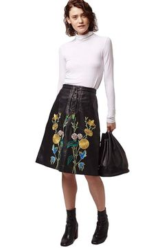 Free shipping and returns on Topshop Embroidered Leather Skirt at Nordstrom.com. Colorful floral embroidery pops against the glossy blackout palette of a lace-up A-line skirt fashioned from buttery-smooth leather.
