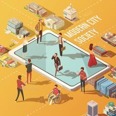 Modern city society concept with people communicating via internet isometric vector illustration. Editable EPS and Render in JPG f