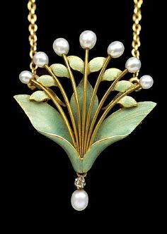 artnet Galleries: Art Nouveau Lily-of-the-Valley Pendant/Brooch by Andre Rambour from Tadema Gallery