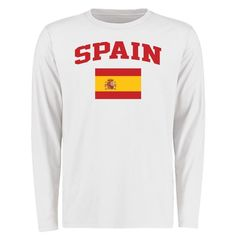 Spain Flag Long Sleeve T-Shirt - White