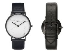 """""""The Stone Watch"""" by The Horse featuring a fine marble face housed in a polished black case, plush black leather band with beige nubuck lining."""