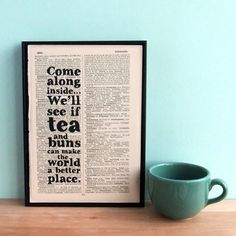 Eco friendly typographic art tea and buns quote on by BookishlyUK, £24.95