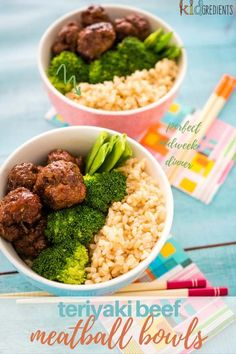 These teriyaki beef meatball bowls will get the kids excited about dinner! Sticky yummy meatballs in a delicious teriyaki sauce, served with your favourite veg! #kidgredients #kidsfood #dinner #teriyaki #meatballs #kidsdinner #familymeals #familydinner