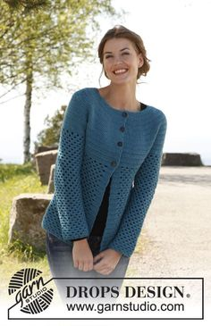 """Crochet DROPS jacket in """"Karisma"""". ~ DROPS Design free pattern This sweater is enough to make me want to learn how to crochet. Cardigan Au Crochet, Gilet Crochet, Crochet Coat, Crochet Jacket, Cardigan Pattern, Jacket Pattern, Crochet Cardigan, Crochet Clothes, Crochet Sweaters"""