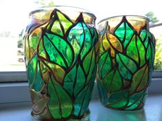 Two glass candle holders with green leaves by SparkysGlassArt, $35.00