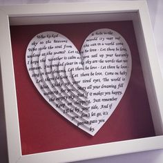 Anniversary Crafts, Personalized Anniversary Gifts, First Anniversary Gifts, Personalized Gifts, Wedding Songs, Wedding Gifts, Song Words, First Dance Songs, Heart Frame