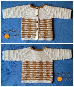 """My Hobby Is Crochet: Crochet Unisex Baby Sweater """"Heartbeat""""- Free Crochet Pattern with Tutorial"""