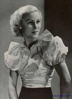 Silk taffeta blouse with smocked bow, 1936.