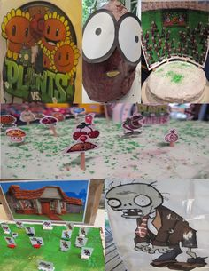 Plants vs. Zombies Kids Birthday Party - Wall-Nut pinata, marshmallow game, water balloon and screen door game, iron-on t-shirt transfers.