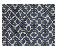 Scroll Tile Rug - Indigo Blue | Pottery Barn - maybe I will go with the whole blue/grey (yes ... grEy) thing in the great room/living room area.