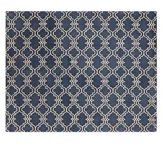 Scroll Tile Tufted Rug - Indigo Blue | Pottery Barn