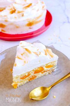 Recette du gâteau pêcher mignon meringué #recette #peche #gateau