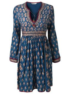 East Anokhi Print Volume Dress, Indigo