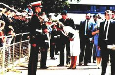1985-07-25 Diana visits the Royal Marines Commando Centre in Lympstone, Devon, and pauses to chat with Cadet Steve Harrison of the Royal Marines Volunteer Cadet Corps