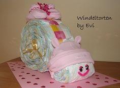 *Originelles Geburts- oder Taufgeschenk für Mädchen*    _Windelschnecke - mal was anderes als eine Windeltorte..._       Windeltorten, die aus den ...