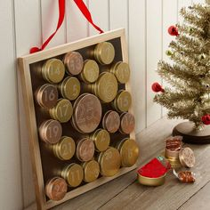 Tin & Chalkboard Advent Calendar- super cute idea with little treats inside each one and gift card to Starbucks