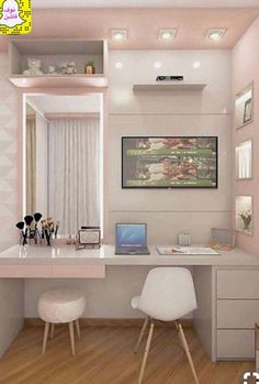 Home office decor, teen room decor, home office design, office desk, bedroom Room Design Bedroom, Girl Bedroom Designs, Home Room Design, Room Ideas Bedroom, Small Room Bedroom, Bedroom Decor, Teen Bedroom Colors, Study Room Decor, Cute Room Decor