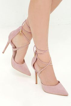 The LULUS Michele Dusty Rose Lace-Up Heels are magic in the making! Soft vegan suede composes a split, pointed-toe upper with long leg-wrap laces.