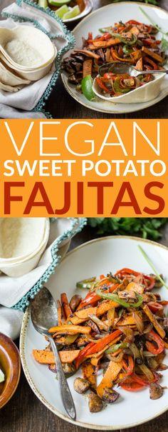 Tender sweet potato and smoky mushrooms stand in for meat in this easy vegan fajita recipe!