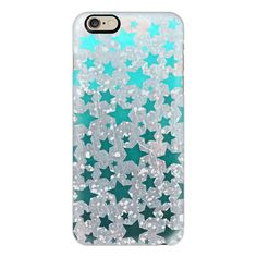 iPhone 6 Plus/6/5/5s/5c Case - All Stars in Teal ($40) ❤ liked on Polyvore featuring accessories, tech accessories, phone, iphone case, slim iphone case, iphone cases, teal iphone case, iphone cover case and apple iphone cases