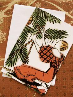 Art Deco French Christmas Unused Greeting Card by reginasstudio, $5.95