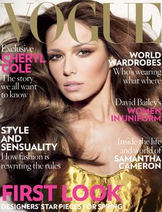 February 2009 Cheryl Cole wears gold satin dress, £1,095, Prada. All make-up by Revlon. Hair: Sam McKnight. Make-up: Charlotte Tilbury. Nails: Marian Newman. Fashion Editor: Bay Garnett.