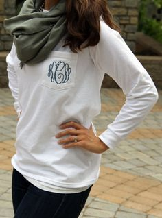 Items similar to Long Sleeve pocket tee Preppy pocket tee Monogrammed long sleeve pocket tee 3 letter Monogram included in price on Etsy Looks Style, Style Me, Monogram Pocket Tees, Monogram Rings, Monogram Pullover, Monogram Bracelet, Silhouette Cameo, Durham, Look Fashion