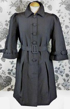 NEW FITTED BLACK TAFFETA COAT-14 42 12 victorian steampunk edwardian goth NWT