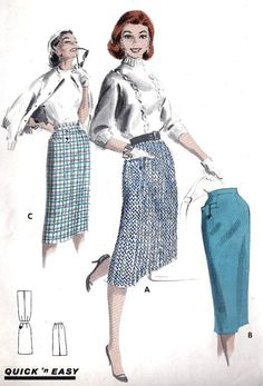 1950s Misses Tailored Pencil Skirt Retro Pattern 4a2e8532ea5