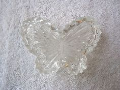 """Vintage Butterfly Shaped Glass Trinket Box """" BEAUTIFUL COLLECTIBLE ITEM """" #vintage #collectibles #home"""