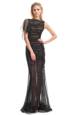 Shop Nina Ricci Dot Print Long Silk Chiffon Dress at Moda Operandi
