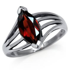 185ct Natural January Birthstone Garnet 925 Silver Solitaire Ring Size 7 -- For more information, visit image link. (This is an affiliate link) #Rings
