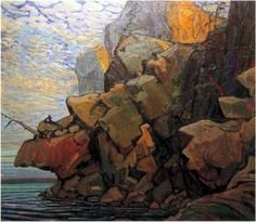 The Sheep's Nose, Bon Echo, Arthur Lismer Canadian, Member of The Group of Seven 1885 - 1969 Group Of Seven Art, Group Of Seven Paintings, Emily Carr, Canadian Painters, Canadian Artists, Landscape Art, Landscape Paintings, Landscapes, Tom Thomson Paintings