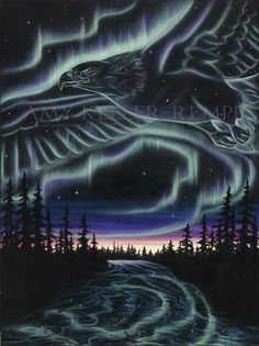 """Sky Dance Series - """"Eagle Over The Snye"""" by Amy Keller-Rempp Art. Eagle Painting, Canadian Wildlife, Aboriginal Artists, Spirit Animal, Giclee Print, Northern Lights, Amy, Fort Mcmurray, Art Cards"""