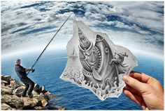"""Belgian artist Ben Heine blends photography and pencil sketches to create imaginary scenes. """"Pencil Vs Camera"""" mixes drawing and photography, imagination and reality. It's a new visual concept invented, initiated and popularized by Ben Heine. Creative Pencil Drawings, Realistic Pencil Drawings, 3d Drawings, Graphite Drawings, Creative Artwork, Amazing Drawings, Pencil Camera, Camera Art, Pencil Art"""