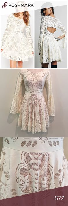 NWOT Free People Women's Beige lace Dress New without tags! A harmonious blend dreamy and delicate, Free People's Lace Lovers Folk Song Dress is fitted and flowing in all the right places. Round neck, long, bell sleeves with slits, sheer lace overlay Back cutout, concealed side zip closure, partially lined Nylon/rayon; lining: rayon Hand wash Free People Dresses