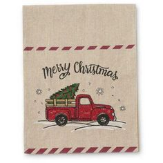 72 Inch Linen Table-runner With Christmas Tree in Vintage Red Truck x Summer Christmas, Christmas Truck, Retro Christmas, Christmas Ideas, Christmas Crafts, Xmas, Vintage Red Truck Decor, Vintage Trucks, Patch Quilt