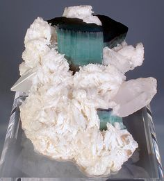 Stunning specimen featuring Tourmaline var. Indicolite crystals with Topaz and Quartz on Albite. Shigar Valley, Northern Areas of Pakistan