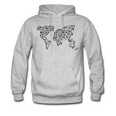 World Map Origami Hoddie - Men's Hoodie